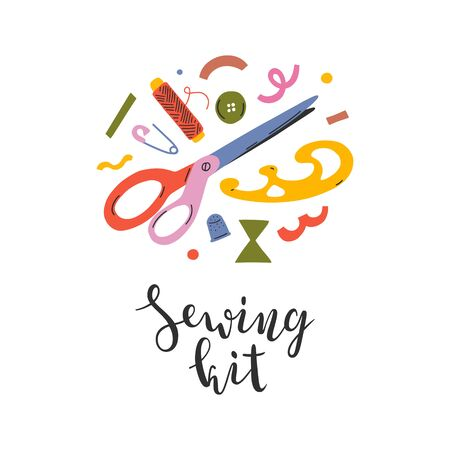 Sewing kit illustration with handwritten lettering, elegant calligraphy, sewing tools and supplies with abstract shapes and doodles in round arrangement, good as banner, card or template for crafts Vectores