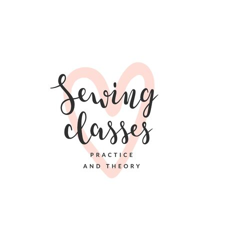 Pre-made template for sewing classes, course or school. Handwritten elegant calligraphy, modern and simple lettering with abstract illustration. Good for workshop and craft lovers.