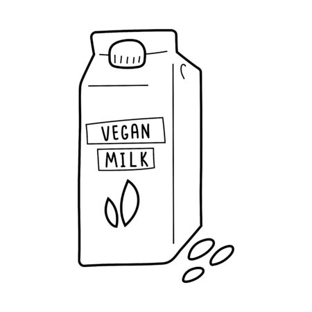 Vegan milk pack, vector isolated line art, linear illustration of almond dairy substitute.