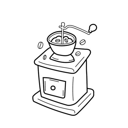 Utensil for grinding coffee, vector isolated line art, linear illustration of vintage manual coffee grinder or mill.