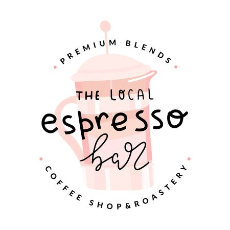 espresso bar or coffee shop. Brand symbol for cafe. Simple stamp illustration of french press pot, handmade lettering , emblem or label for cafe, isolated graphic element. Stock fotó - 137874719