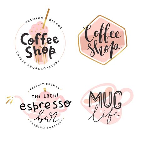 Collection of coffee shop , vector symbols with pastel color illustrations and gold foil decoration, simple modern style, handwritten lettering, good for cafe, espresso bar or cafeteria.