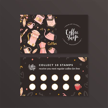Coffee shop loyalty card, customer program for cafe. Layout with blank space for stamps, special offer to collect stamps, buy 9 get one drink free. Modern design with colorful handdrawn illustrations