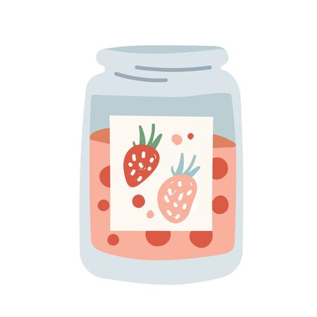 Jam jar with home made strawberry confiture. Hand made dessert for winter or autumn season, Simple modern handdrawn vector illustration, isolated flat clipart. Illustration
