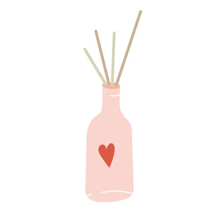 Fragrance sticks in a bottle. Interior decoration, oil perfume stick diffusers for freshening room. Simple modern hand drawn illustration, isolated vector clipart