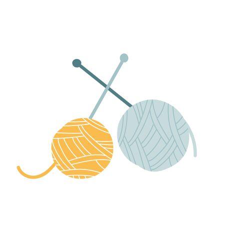 Vector handdrawn illustration of yarn balls with knitting needles, Simple modern drawing, good as icon . Illustration