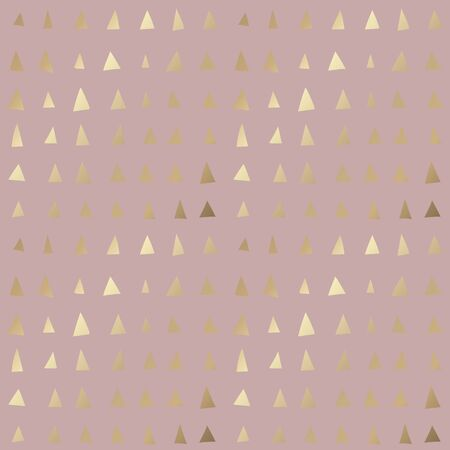 Trendy seamless pattern with small gold triangle shapes on dusty rose background. Colorful simple backdrop with golden foil effect. Contemporary abstract ornament for textile print, wrapping paper.