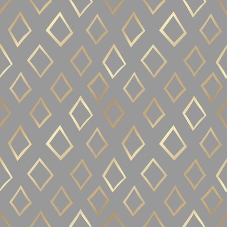 Modern seamless pattern with diamond shapes on grey background. Simple vector backdrop with golden foil effect. Contemporary abstract texture for fabric print or wrapping paper.