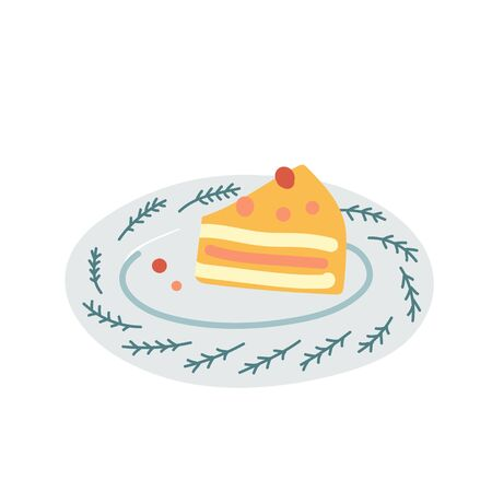 Piece of cake decorated with berries on decorative porcelain plate isolated on white background. Tasty dessert, pie or sweet biscuit pastry. Simple flat hand drawn illustration in hygge style.