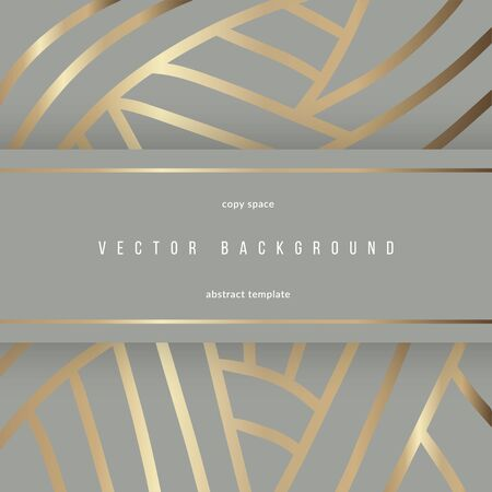 Elegant template with gold lines for banner or card, blank space for text. Trendy golden foil minimal vector background with freehand drawing. Modern luxury design for wedding invitation, brochure