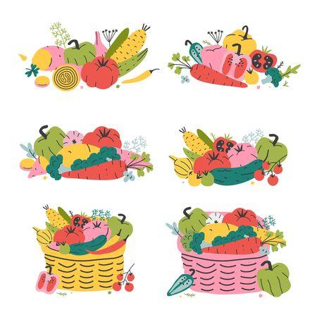 Warzywa w wiklinowych koszach, dojrzałe, świeże warzywa sezonowe, zbiór warzyw, zbiory ekologiczne, kosz targowy. Płaskie ręcznie rysowane ilustracji wektorowych, dobre jako druk plakatu, karty lub naklejki.