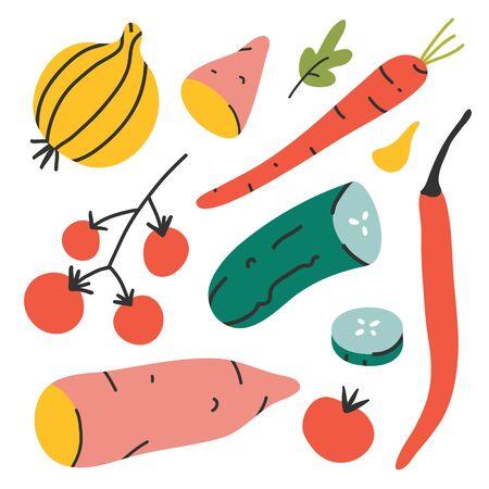 Vegetables set, fresh organic veggies isolated on white background. Sweet yam potato, cherry tomato, potato and chili pepper, handdrawn vector illustration of ripe vegetables harvest, flat drawing.