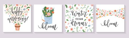 Spring card set with motivational lettering quotes calligraphy, flowers, hand drawn illustration. Perfect for greeting cards, banner, poster, cover, invitation and social media or ad, vector template Иллюстрация