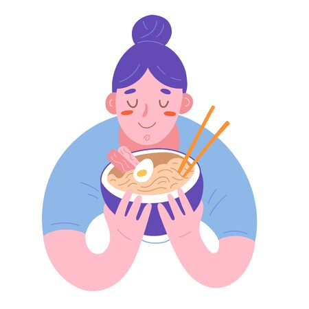 Woman having enjoying ramen, illustration of cute character holing a bowl with hot japanese noodle soup, traditional dish with browth and chopsticks. Flat hand drawn cartoon drawing, isolated art Ilustración de vector