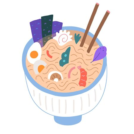 Ramen bowl doodle illustration, japanese food, flat cartoon vector art, traditional asian noodle soup with chopsticks. Ramen shop or asian cafe dish. Good for menu, logo or icon