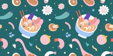 Ramen-Nudelsuppe fliegender Hintergrund, japanisches Essen, Narutimaki, Ei und Schüssel mit Stäbchen, bunte Verzierung für Ramen-Shop, Menü oder Wanddruck. nahtloses Vektormuster für asiatisches Café, Restaurant. Vektorgrafik