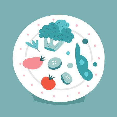 Healthy vegetable on plate, vector illustration, green food served on plate, concept of healthy eating. Broccoli, cucumber and sweet peas, Vegan and vegetarian food, doodle cartoon illustration Illustration