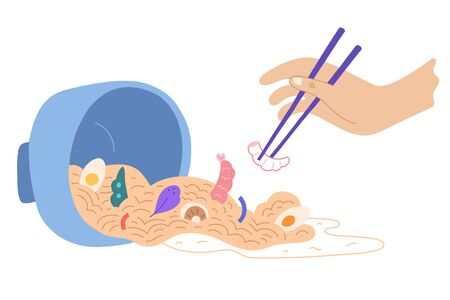 spilled ramen noodle soup, japanese dish with noodles, seafood, shrimps and egg, hand holding chopsticks, person eating ramen, asian cuisine, ramen bowl, cute cartoon vector illustration.