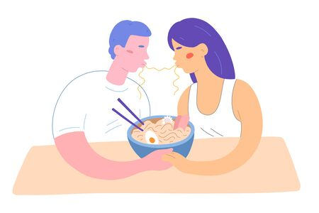 Noodle kiss, couple eating ramen, holding hands in cafe, cute flat illustration, isolated vector drawing, japanese noodle soup in bowl with chopsticks. Man and woman in ramen shop romantic date dinner