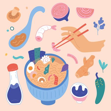 Doodle Ramen. Various noodles, saoy sauce, ingredients and chopsticks and other objects. Hand drawn vector set. All elements are isolated. Person eating asian food, ramen spoon with hot broth
