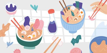ramen bowls served on table, top view of traditional japanese food on a wooden table, vector Illustration, Delicious noodle soup with chopsticks and soy sauce,