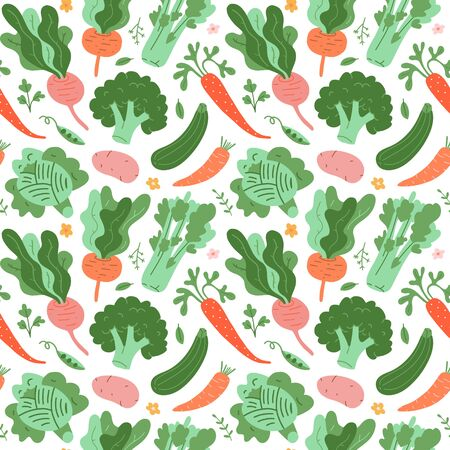 Vegetables pattern, doodle veggies, hand drawn illustrations of carrot, broccoli, beet root and cabbage. Flat trendy cartoon style, vector texture, vegetable background for kitchen textile