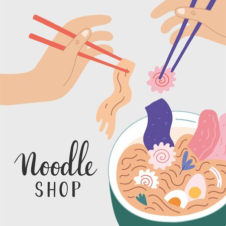 Noodle shop banner for ramen cafe, vector illustration with ramen bowl noodle soup, narutomaki and other ingredients, people eating asian food with chopsticks