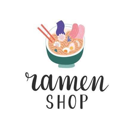 Ramen shop logo, handwritten lettering logotype for asian food cafe or restaurant, illustration of ramen bowl with chopsticks and ingredients, modern simple hand drawn vector symbol