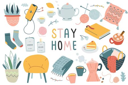 Stay home collection, indoors activities, concept of comfort and coziness, set of isolated vector illustrations, modern hand drawn art, scandinavian hygge design, isolation period at home Vektorové ilustrace