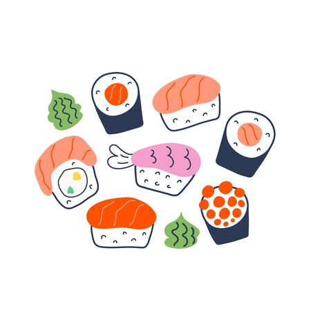 Various sushi rolls, doodle maki, philadelphia and nigiri with salmon, shrimp and caviar, collection of different rolls with green wasabi seasoning, tasty japanese food, isolated vector illustration.