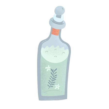 Natural cosmetics, rose water toner, natural hand made moisturizer, skin care product in glass bottle with a cork. Zero waste product, vector illustration
