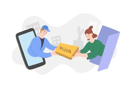 Delivery app, courier handing hot pizza to client, woman customer, delivering food to door via mobile app, abstract concept with people, cute cartoon characters, modern illustration for web