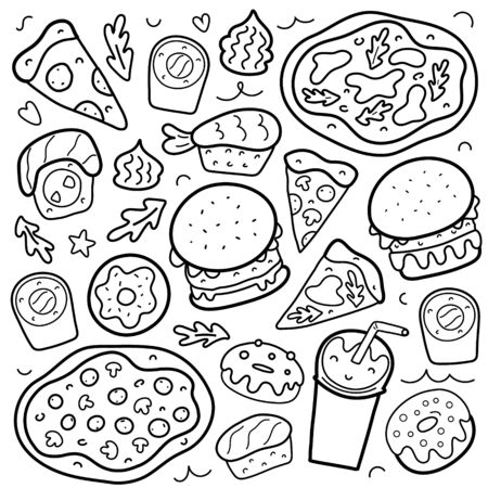 Fastfood doodle set, collection of fast food, isolated vector illustration, pizza, burgers and sushi rolls, philadelphia and maki with salmon, icons for delivery cafe, takeout food restaurant Ilustração Vetorial
