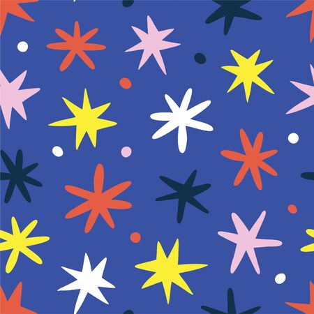 Doodle stars background, cute scribble drawing for kids and babies, scandinavian naive art, seamless vector pattern, good as wrapping paper or print for christmas. Hand drawn babyish backdrop