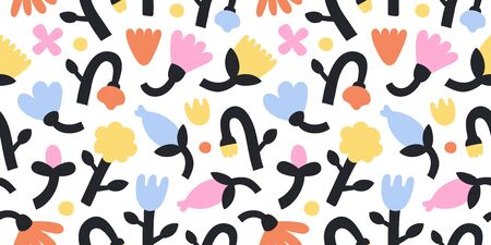 Contemporary flowers, vector abstract tulips and bell flower in bright colors. Vector seamless pattern. Modern trendy botanical design for fashion print, fabric, wallpaper and wrapping paper. Vettoriali