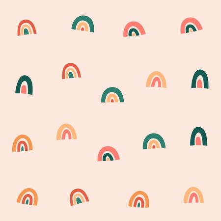 Rainbow pattern, simple scandinavian seamless background, contemporary abstract illustration for kids, baby nursery, trendy modern backdrop, good as wrapping paper for kids or fabric print