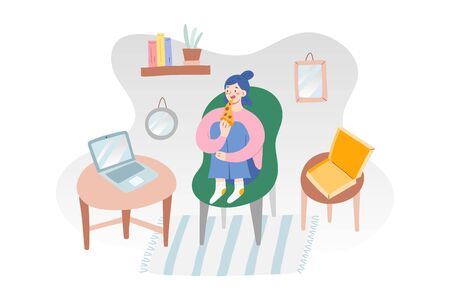 Girl eating pizza, watching videos on laptop, cozy interior, modern living room, cartoon illustration, indoors activities on isolation quarantine, open box with pizza slice, concept of leisure time