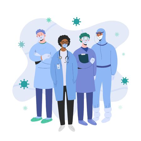 Doctors and nurses wearing protective suits and masks standing together ready for coronavirus epidemic, professional teamwork concept, medical team, kind cartoon characters, man and women Иллюстрация