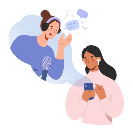 Female podcast host and listener, woman listening to podcast show on mobile app, podcaster in headset talking to audience, concept of broadcasting, flat cartoon characters, vector illustration