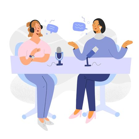 Podcast host with guest, women discussing and recording a program, cartoon characters, collaboration of bloggers making content with microphones, audio stream in studio, vector illustration