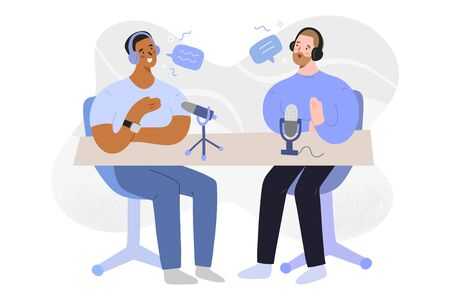 Radio interview, podcast host and guest talking, discussing and recording an audio program, vector cartoon illustration, characters in headphones with microphones, hand drawn flat art  イラスト・ベクター素材