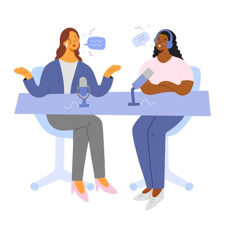 Podcast host with guest talking, live broadcasting on air, radio program, people discussing news, recording a show, flat cartoon characters with microphones, vector illustration, speech bubbles