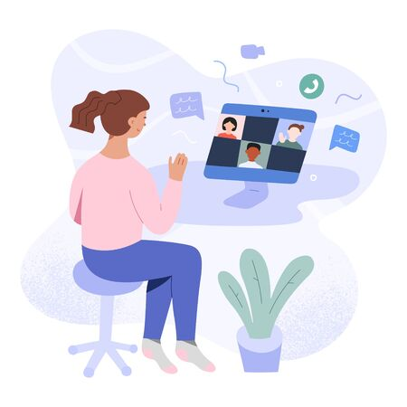 School learning on video conference, girl at desktop making group video call for studying at home during self-isolation and quarantine, distant e-learning concept, vector flat cartoon illustration Иллюстрация