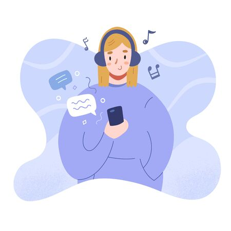 Teenage girl text messaging and listening to music in headphones, cute teenager girl in hoodie sweatshirt holding smartphone, chatting in mobile app messanger, flat vector illustration Illusztráció
