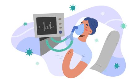 Artificial lung ventilation for covid patient, intensive care in hospital, woman infected by coronavirus in critical condition, vector illustration, cartoon character. Pulmonary ventilator Ilustracje wektorowe