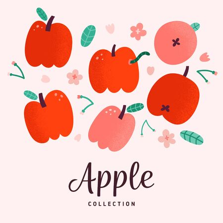 Red apples collection, doodle vector drawing, isolated vector illustration, fresh sweet summer fruit with blooming flowers and leaves, apple with worm, hand drawn flat style illustration