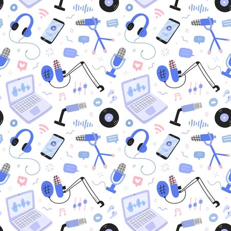 podcast and broadcast pattern, vector collage with microphones, headphones, computer program for recording and producing podcast shows, seamless ornament, hand drawn icons, endless background