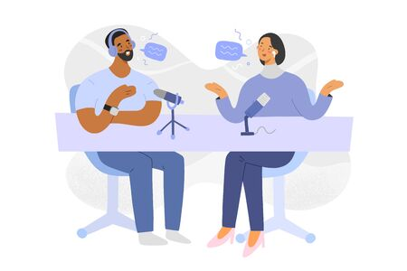 Podcast interview, host and guest discussion on radio program, hand drawn people, vector cartoon illustration, man and woman sitting, talking and recording content with microphones, modern art