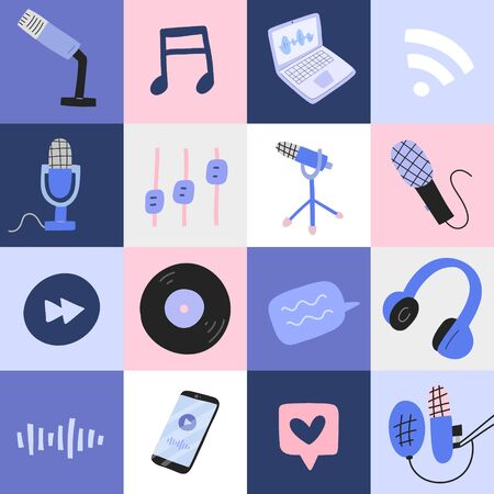 Podcast pop art poster with illustrations of professional microphones, headphones, notebook and abstract doodle illustration, good as print poster or banner, colorful block composition, handdrawn art