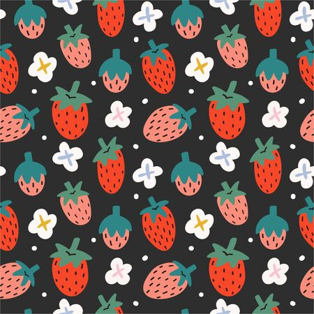 Strawberry seamless pattern on black background, fruit ornament with hand drawn illustration of berries with blooming flowers, good for kitchen tablecloth, wrapping paper, repeating tile 向量圖像